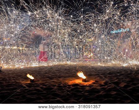 Fire And Sparks.  Lodz, Poland - July 21, 2019 Phenomenal Effects During The Fireworks And Fire Danc