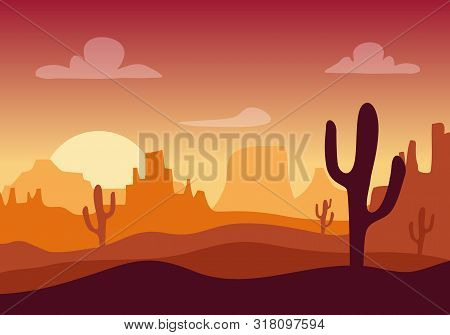 Desert Sunset Silhouette Landscape. Arizona Or Mexico Western Cartoon Background With Wild Cactus, C