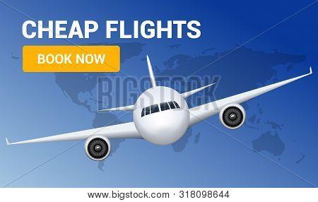 Flight Travel Trip Banner For Online Booking. Vector Airplane Cheap Ticket Online Sale Design Promo