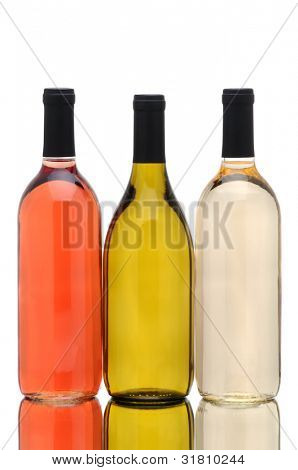 Three Wine Bottles over a White Background