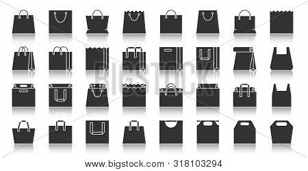 Shopping Bag Silhouette Icons Set. Monochrome Web Sign Kit Of Package. Sale Pictogram Collection Inc