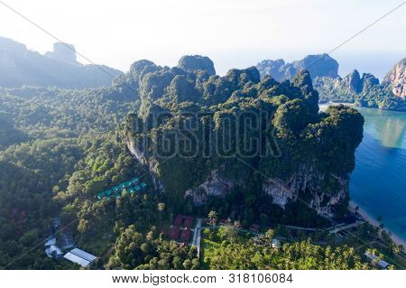 Aerial drone view of  popular travel tropical karst rocks perfect for climbing Tonsai Beach, Krabi province, Thailand