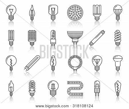 Light Bulb Thin Line Icon Set. Outline Web Sign Kit Of Glass Lamp. Fluorescent Lightbulb Linear Icon