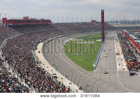 FONTANA, CA. - FEB 21: A general view of the Auto Club Speedway during the Auto Club 500 on Feb 21 2010 at the Auto Club Speedway in Fontana, Ca.