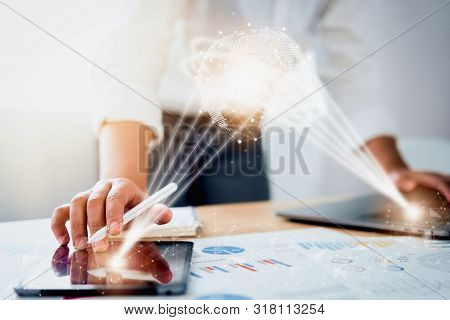 Digital Marketing, Businessman Using Digital Tablet And Computer Laptop And Documents With Virtual I