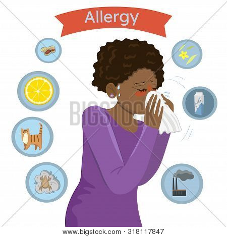 Allergy Triggers. Girl With Allergies Blows Her Nose In A Handkerchief .vector Image