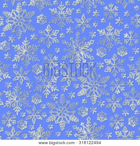 Snowflake Line Seamless Pattern. Abstract Winter Season Ornate Star Background. Linear Snow Flakes R