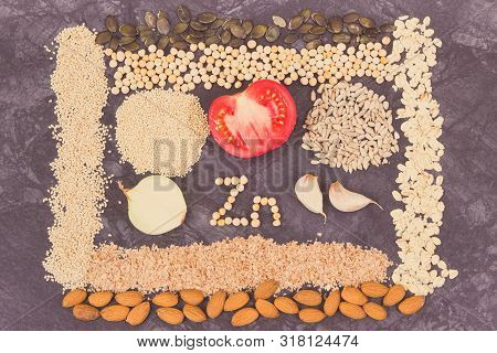 Inscription Zn With Healthy Nutritious Eating Containing Zinc, Vitamins, Minerals And Dietary Fiber