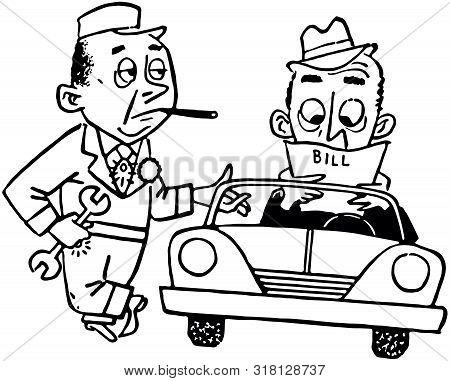 Paying The Mechanic - Retro Clip Art Illustration