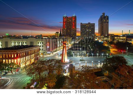 San Antonio, Tx, Usa - Dec. 11, 2018: San Antonio City Skyline Panorama At Sunrise Twilight In Downt