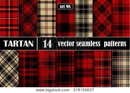 Set Tartan  Plaid  Seamless Pattern Background.