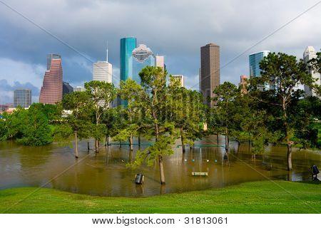 Flooded playground in Houston Texas