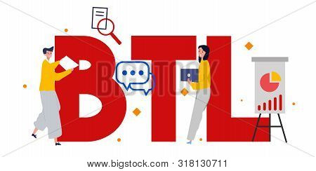 Btl Or Below The Line Communication With Customer. Marketing Strategy Of Product Promotion. Direct O
