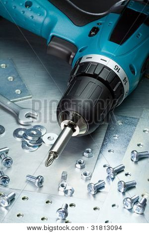 Metal workshop. Electric screwdriver, cordless drill.