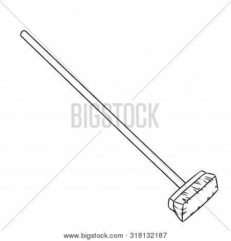 Hand Drawn Cute Besom Doodle. Vector Isolated Symbol. Cartoon Sketch Element