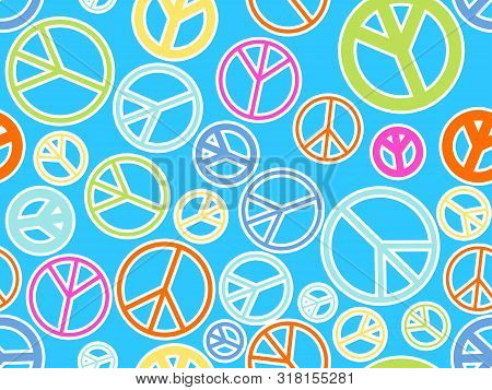 Peace Sign Seamless Pattern. The International Symbol Of Peace And Pacifists, Anti-war. Vector Illus