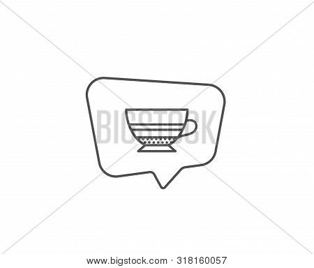 Mocha Coffee Icon. Chat Bubble Design. Hot Drink Sign. Beverage Symbol. Outline Concept. Thin Line M
