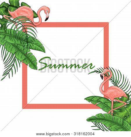 Tropical Hawaiian Flyer With Birds, Palm Leaves