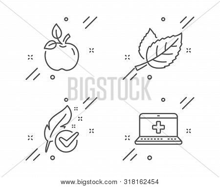 Hypoallergenic Tested, Eco Food And Leaf Line Icons Set. Medical Help Sign. Feather, Organic Tested,