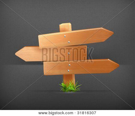 Wooden sign, vector