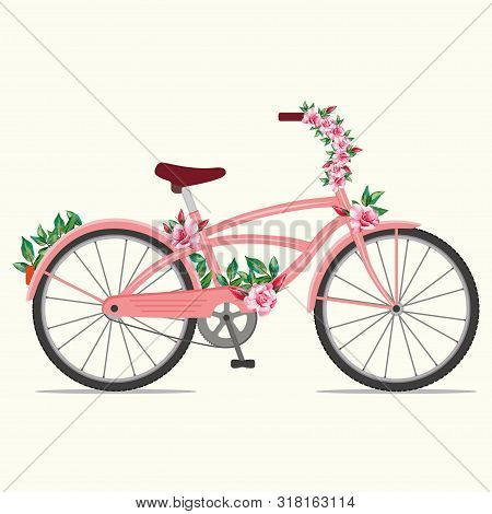 Beautiful Female Pink Bike With Ornament Red Rose Flowers. Vector Illustration Cute Bicycle With Flo