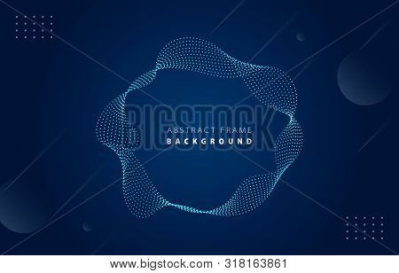 Futuristic Metal Tiffany Blue Gradient Dot Wave Frame Vector Blued Memphis Background, Dotted Rotate