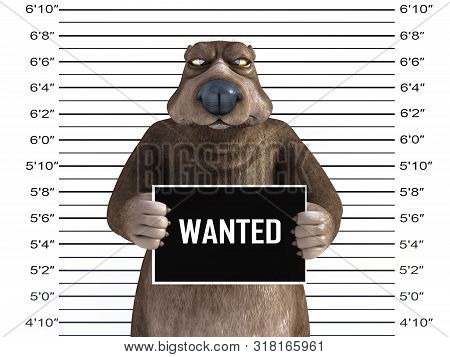 3d Rendering Of An Angry Cartoon Bear Holding A Wanted Sign While Getting His Mug Shot, Looking A Bi
