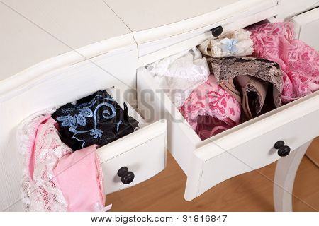 Vintage drawers filled with sexy lace lingerie