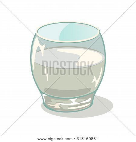 Rocking Tumbler. Short Glass Cup With Water. Drinking Vessels. Small Transparent Tableware With Liqu