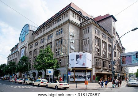 BERLIN, GERMANY - MAY 25, 2018: A view of the famous Kaufhaus des Westens department store, best known as KaDeWe, at the busy Tauentzienstrasse street in Berlin, Germany