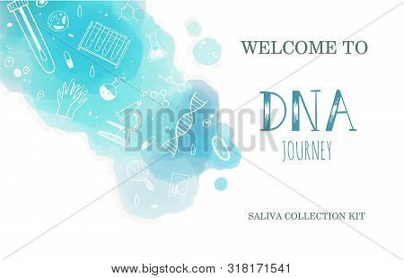 Vector Ethnicity And Genealogy Dna Genetic Test Home Kit Cover, Design Template, Background. Hand Dr