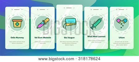 Color Dosage, Dosing Drugs Vector Onboarding Mobile App Page Screen. Pharmacological Medications Dosage Outline Cliparts. Disease Treatment Prescription. Medical Therapy Illustration poster