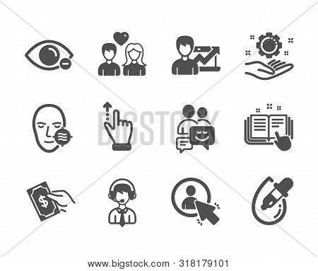 Set Of People Icons, Such As User, Communication, Eye Drops, Shipping Support, Touchscreen Gesture,