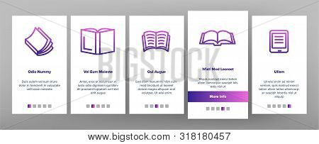Color Library Book Onboarding Mobile App Page Screen Vector Thin Line. Opened And Closed Publishing