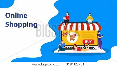 E-commerce Cart Concept. People Using Mobile Gadgets Such As Tablet And Smartphone For Online Purcha