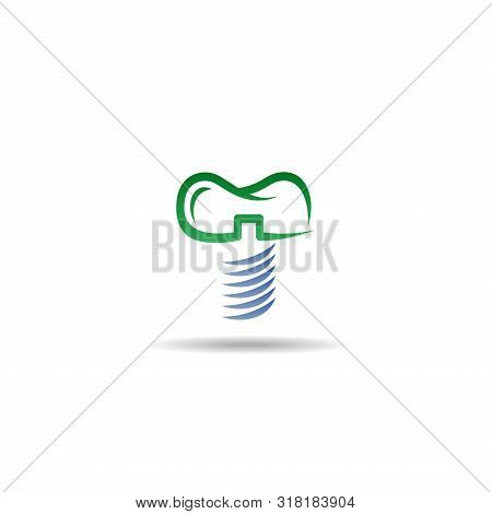 Dental Implant Logo Vector Template, Dental Implant Icon Isolated On White Background. Dental Implan