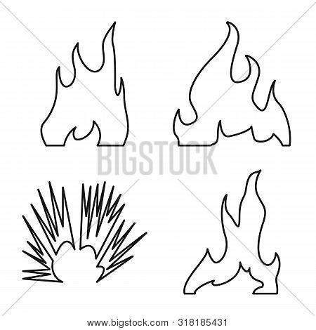 Vector Illustration Of Blaze And Campfire Logo. Collection Of Blaze And Danger Vector Icon For Stock