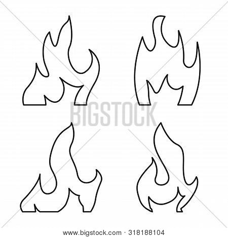 Vector Design Of Blaze And Campfire Logo. Collection Of Blaze And Danger Stock Vector Illustration.