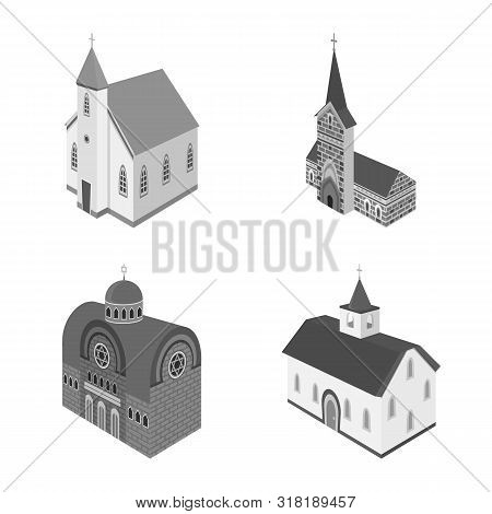 Vector Illustration Of Landmark And Clergy Sign. Collection Of Landmark And Religion Stock Symbol Fo