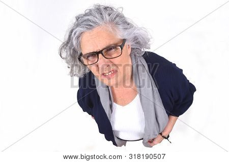 Portrait Of A Woman Making Mockery On White