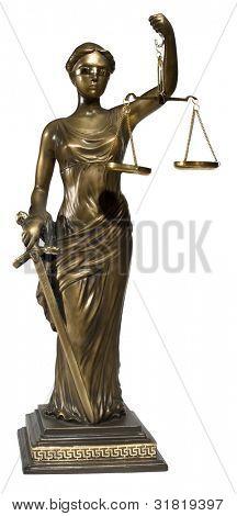 Dame der Justiz auf weißem Hintergrund
