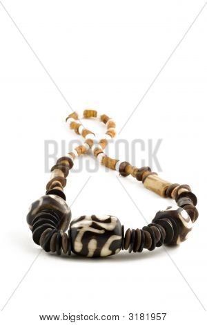Wooden Necklace Isolated On White Background