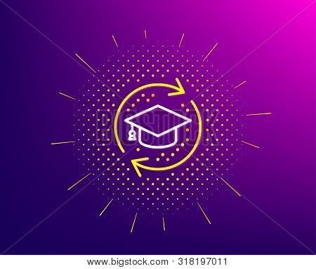 Continuing Education Line Icon. Halftone Pattern. Online Education Sign. Gradient Background. Contin