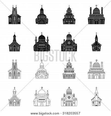 Isolated Object Of Cult And Temple Logo. Collection Of Cult And Parish Stock Vector Illustration.
