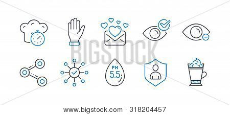 Set Of Business Icons, Such As Cooking Timer, Hand, Check Eye, Myopia, Ph Neutral, Share, Security,