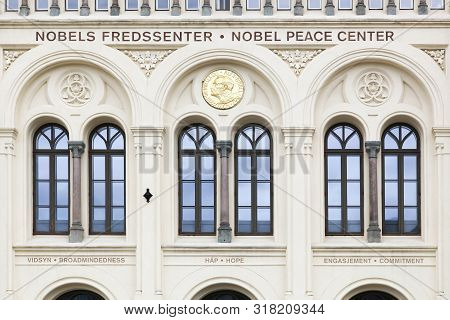 Oslo, Norway - August 27, 2018: Facade Of The Nobel Peace Center. The Nobel Peace Center In Oslo Is