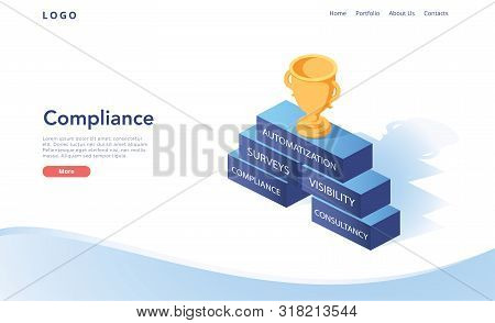 Isometric Flat Vector Landing Page Template Of Regulatory Compliance, Steps That Are Needed To Be Co