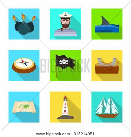 Isolated Object Of Travel And Attributes Symbol. Set Of Travel And Seafaring Stock Vector Illustrati