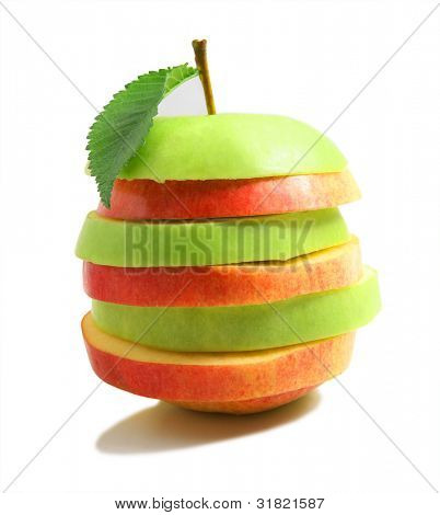Mixed Fruit.  The pyramid consisting of a pear and an apple
