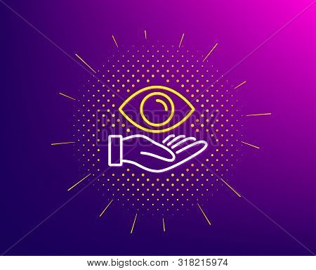 Eye Care Line Icon. Halftone Pattern. Oculist Clinic Sign. Optometry Vision Symbol. Gradient Backgro